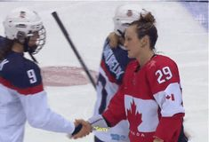 Marie-Philip Poulin 'Sorry' Handshake GIF Is Pretty Darn Canadian, Hilarious. [Canadian ladies win gold for hockey at the 2014 Sochi Olympics] Women's Hockey, Hockey Girls, Hockey Players, Hockey Stuff, Olympic Hockey, Youth Hockey, Hockey Baby, Basketball, Montreal Canadiens