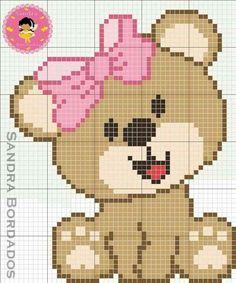 Teddy with pink bow Graph Crochet, Pixel Crochet, C2c Crochet, Crochet Blanket Patterns, Cute Cross Stitch, Cross Stitch Designs, Cross Stitch Patterns, Embroidery Stitches, Embroidery Patterns
