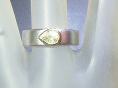 Chrysoberyl Solitaire Band Ring Bezel Pear Sterling Silver & 18kt Yellow Gold by Gemsbygigialonia on Etsy
