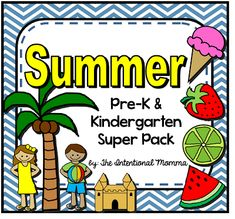 50-page Summer themed printable unit for pre-k and kindergarten! includes worksheets and coloring pages, great for morning work! ice cream, fruit, beach, and more! cute! great for preschool or homeschool too. $
