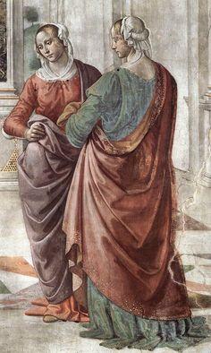 DOMENICO GHIRLANDAIO (1449 - 1494) | Zacharias Writes Down the Name of his Son, detail - 1486/90. Fresco | Cappella Tornabuoni, Santa Maria Novella, Florence.