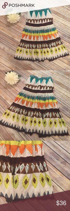 "Saks Fifth Avenue Boho Skirt Saks Fifth Avenue Boho skirt With Elastic Waist.  In excellent condition!  Waist 26"" Length 29"" Saks Fifth Avenue Skirts"