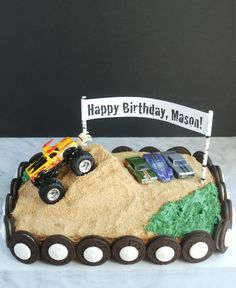 This monster truck birthday cake is so much easier to make than it looks. I love that it's covered with graham cracker crumbs and Oreos, so you don't have to have any frosting skill!