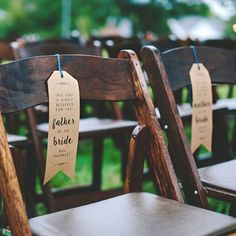 kraft paper wedding ceremony chair reserved signs / http://www.himisspuff.com/kraft-paper-wedding-decor-ideas/13/
