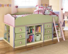The modular storage pieces of this fun loft bed give you the options to build just the combination your daughter will love. The Loft Bin Storage or Loft Door Storage Units can be changed to the style you prefer. Pick from one of the eight options shown or create your own! From the colorful pastel hues in pink, yellow, green, and lavender to the fanciful scalloped edges, this loft bed is ideal for a girl's bedroom.