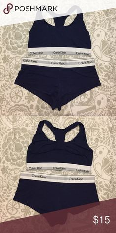 Calvin Klein Lounge Bralette & Short Set Calvin Klein Lounge Bralette & Short Set EUC Color: Navy Size: Large Fabric Composition: 53% Cotton 35% Modal 12% Elastane *In excellent condition was used as a lounge set. After one use I decided that the bralette is too small for me. Calvin Klein Intimates & Sleepwear Pajamas