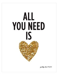 All You Need Is Love Print Gold Glitter Heart by prettychicsf