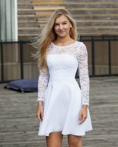 White Dress With Sleeves, Off White Dresses, Black Wedding Dresses, Little White Dresses, Dresses With Sleeves, Ladies Day Dresses, Dresses For Teens, Confirmation Dresses White, Stylish Dresses