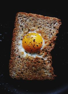 "Probably one of my favorite breakfast items. My mom called them ""bullseyes."" i use good butter and hearty bread. Fast, easy, and really good."