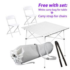 The best furniture kit for Diner en Blanc: this one even includes a white carry bag for the folding table and a strap to transport the chairs comfortably