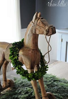 The vintage style wooden horse from @homegoods adds a playful feel ...
