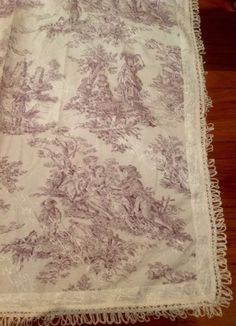 French-Country-Toile-Tablecloth-Cloth-Table-Topper-Fringe-Mauve-40x42cm