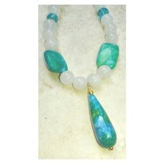White Agate and Blue Milk Jade Jewelry Set, White and Blue Green... (€26) via Polyvore featuring jewelry, blue green jewelry, white jade jewelry, blue jewelry, set jewelry e jade jewellery