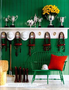 Green and yellow mudroom