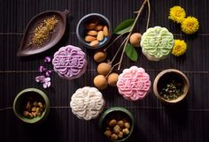 Four treasure petit snowskin mooncakes with nuts filling