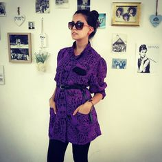 Vintage purple blouse with black leopard print by girlsaboutcity