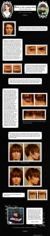 Female to Male Crossplay Makeup Tutorial by Vilya0  This could be helpful for Drag King makeup too.