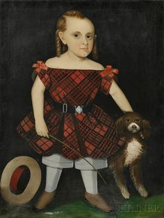 American Folk Art Portrait of a boy in a red plaid dress with his dog and a riding crop. Attributed to Ammi Phillips (American 1788-1865)