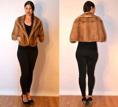 1950s sz small / medium fur cape fur stole #FauxyFurr #USAMADE