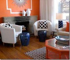 Gina Kates: House & Home - White Ikea Tullsta chairs, keywest fabric pillows, glossy blue  barden ...