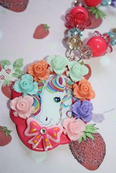 Valentines Day Sale Lisa Frank Unicorn Necklace Whimsical fantasy rainbow cameo rose trimmed so pretty and colorful