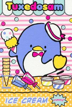 Tuxedo Sam loves ice cream! n.n