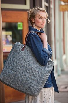 "Beautiful. I need one of these. It is the ""Plein Air Tote"" knit bag pattern by Amanda Scheuzger, from Inteweave, here on Ravelry"