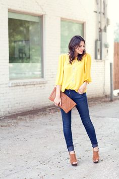 yellow / camel / denim :: member @Kendi Everyday (similar top @Bloom http://www.bloomdowntown.com/collections/new-arrivals/products/silk-blouse-in-lemon)