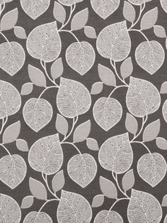 Gray White Upholstery Fabric Artistic Leaves Fabric on Etsy, $58.98 CAD