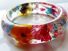 Flower Resin Bangle, Eco Friendly Resin Bracelet, Pressed Flower Jewelry, Rainbow Flower Bangle