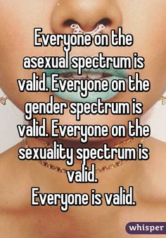 """""""Everyone on the asexual spectrum is valid. Everyone on the gender spectrum is…"""