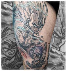 "Armin Primig 🐙 (@mr_catatafish_tattoo) auf Instagram: ""Majin vegeta and little trunks 💛 Sleeve in progress 🤓 #vegeta #dragonballtattoo #inked #tattoos #dragonballz #dragonball #goku #majinvegeta #manga #animeink #dragonballsuper #namek #sketchy #sketchtattoo #tattoo Anime Tattoos, Tatoos, Majin Tattoo, Goku, Sketchy Tattoo, Manga, Tattoo Sketches, Armin, Trunks"