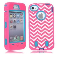 MagicSky Robot Series Chevron Pattern Case for Apple iPhone 4 4S 4G - 1 Pack - Retail Packaging - Blue/Hot Pink