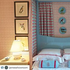 @jamesshowroom ・・・ Saturday Inspiration! We ❤️ this beautiful room by @cathykincaidinteriors layering @sisterparishdesign Tucker in red with Flora in light blue and red!  Now available thru @jamesshowroom ! #fabric #textiles #wallpaper #interiordesign #showroom #austininteriors #texasinteriors