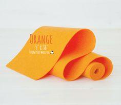 "100% Wool Felt Roll - 5"" x 36"" Wool Felt Roll - Wool Felt Color Orange-5040 - Soft Pure Wool Felt - Orange Color Wool Felt - Orange Felt"
