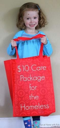 How to make a $10 Care Package for the Homeless that includes several days of food.  Includes a free printable shopping list.  From Fun at Home with Kids
