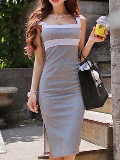 Square Neck Plain Bodycon #dresses