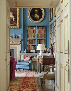 Delightful hallway glimpse of this lively blue home library! In regards to this home, christiesinc stated, Linley Hall, Shropshire: Property from the Late Sir Jasper amp; Salon Art Deco, Turquoise Room, English Decor, Library Room, Country House Interior, Country Houses, Home Libraries, Library Design, Library Ideas