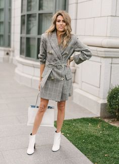 Grey checked wrap blazer-dress+white heeled ankle boots+white handbag. Fall Workear/ Dressy Casual Outfit 2017