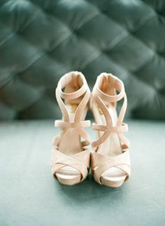 nude colored wedding bridal heels to pair with any dress