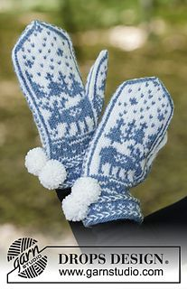Moose on the Loose - Knitted mittens with multi-colored Nordic pattern and Latvian cable. The piece is worked in DROPS Karisma. - Free pattern by DROPS Design Knitting Charts, Knitting Stitches, Knitting Designs, Knitting Patterns Free, Free Knitting, Knitting Projects, Crochet Patterns, Free Pattern, Knitted Mittens Pattern