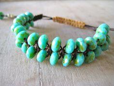 Macrame Bracelet - picasso beaded,  boho macrame bracelet, rustic turquoise, blue green, reef, hippie, surfer girl, beachy chic on Etsy, $22.00
