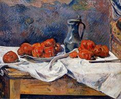 Paul Gauguin, Nature morte aux tomates (Tomatoes and a pewter tankard on a table), 1883  oil on canvas, 60 x 73 cm, private collection