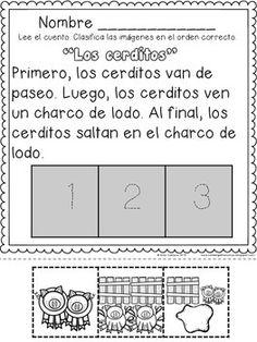 RECORTAR Y LEER SECUENCIAS TEMPORALES - primero, luego, al final, escritura narrativa, kindergarten, primer grado,