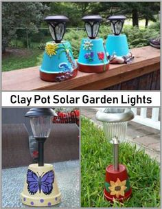 Solar Lights in painted clay pots.Solar Lights in painted clay pots.Solar Garden Lights Using Clay Pots Flower Pot Art, Clay Flower Pots, Flower Pot Crafts, Clay Pot Crafts, Flower Pot People, Clay Pot People, Painted Clay Pots, Painted Flower Pots, Painted Pebbles