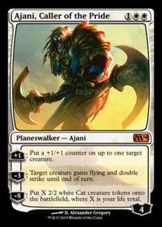 Ajani, Caller of the Pride mtg Magic the Gathering M14 mythic rare white planeswalker card