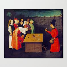 Original painting by Hieronymus Bosch executed around 1502. (with some color edit)  #art #painting #society6 #canvas #colors #red #print #tapestry #pillow #laptop #bag