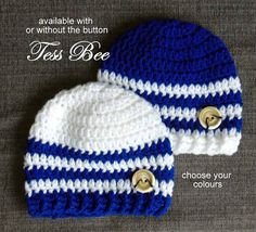 Twin Striped Beanie Hats  This listing is for twin stripey hats with co-ordinating chunky crochet ribbed edge and a cute button accent (button is optional) the sample pictured above uses 2 colour combinations... one is royal blue with white stripes the other is white with royal blue stripes the hats have a chunky crochet rib style edge but can be made with flat style edge (see my other listings)  I make these stripey twin hats to order in the colours you request perhaps to match a football… Baby Beanies, Baby Boy Hats, Beanie Hats, Chunky Crochet, Crochet Baby Hats, Hand Crochet, Blue And White Hats, Cute Twins, Baby Layette