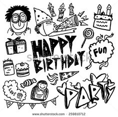 hand drawn #birthday themed #doodle #design #graphic #vector #illustration