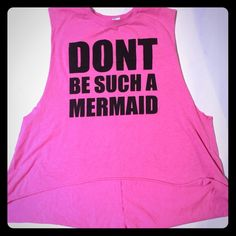 H &M DIVIDED pink muscle tank Don't be such a mermaid pink muscle tank. Size small. Flowey bottom H & m Tops Muscle Tees